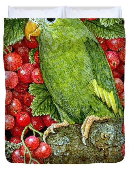 Redcurrant Parakeet Duvet Cover by Ditz