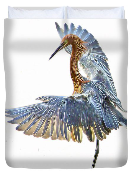 Duvet Cover featuring the digital art Reddish Egret 1 by William Horden