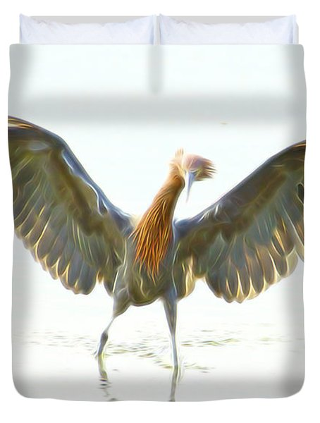 Duvet Cover featuring the digital art Reddish Egret 2 by William Horden