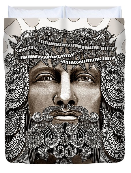 Redeemer - Modern Jesus Iconography - Copyrighted Duvet Cover