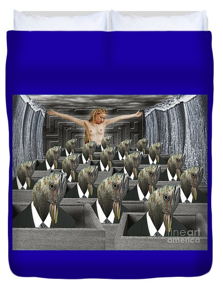 Redemption On The Cube Farm Duvet Cover by Keith Dillon