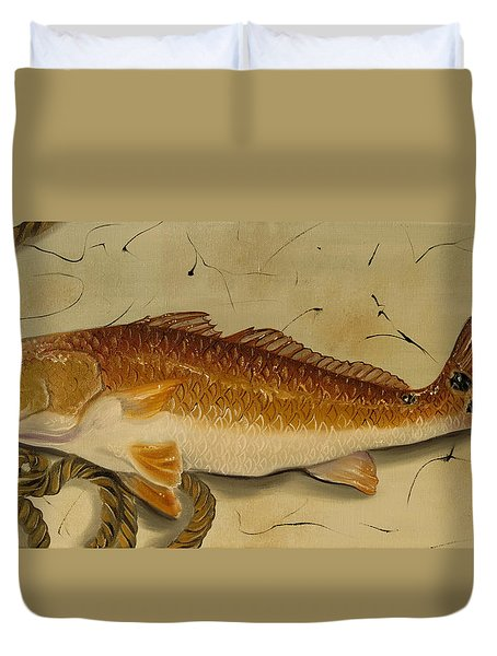 Redfish In The Boat Duvet Cover by Phyllis Beiser