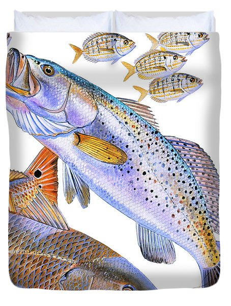 Redfish Trout Duvet Cover by Carey Chen