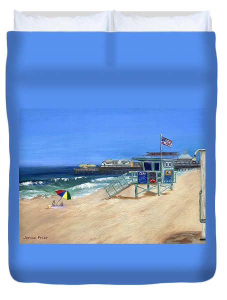 Redondo Beach Lifeguard  Duvet Cover