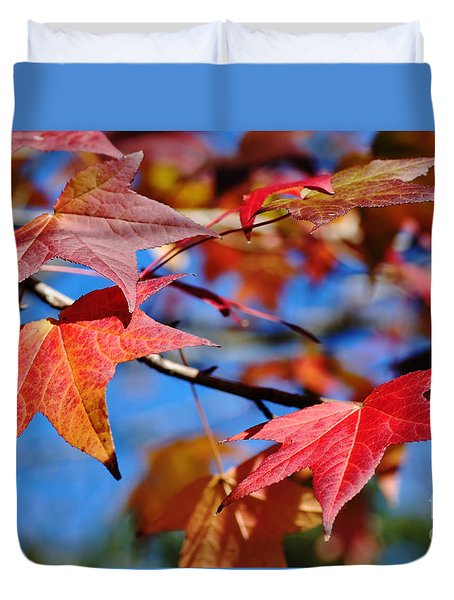Reds Of Autumn Duvet Cover by Kaye Menner