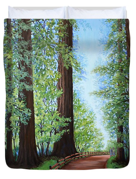 Redwood Forest Path Duvet Cover