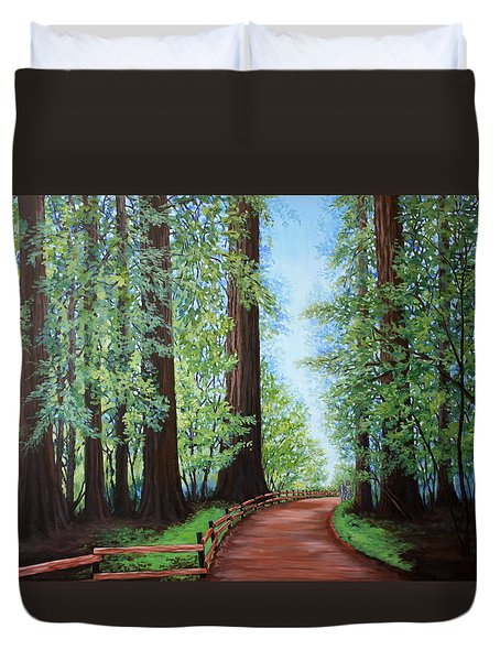 Redwood Forest Path Duvet Cover by Penny Birch-Williams