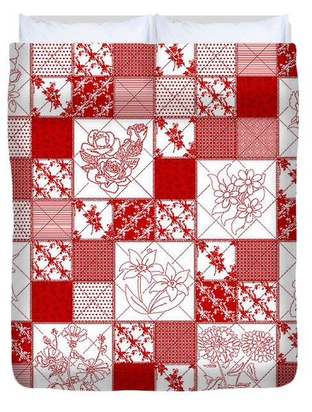 Duvet Cover featuring the digital art Redwork Floral Quilt by Margaret Newcomb