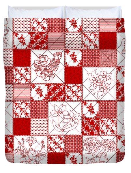 Redwork Floral Quilt Duvet Cover