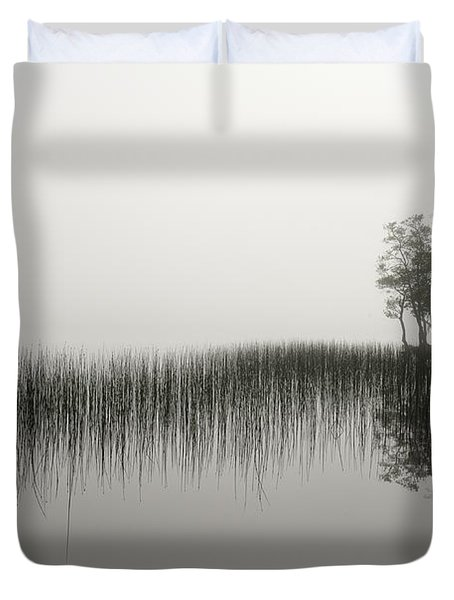 Reeds And Shore In The Mist Duvet Cover