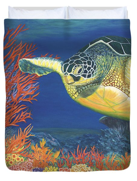 Duvet Cover featuring the painting Reef Rider by Karen Zuk Rosenblatt