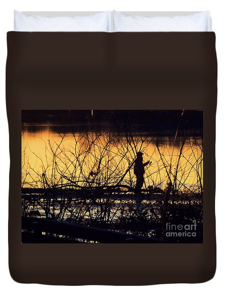 Duvet Cover featuring the photograph Reeling In A New Day by Robyn King