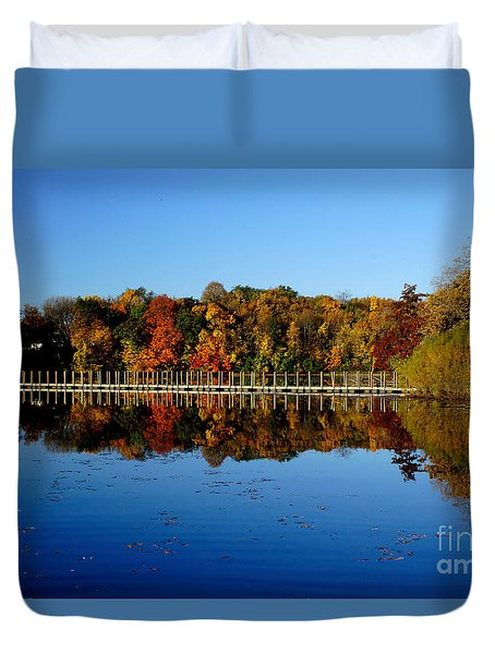 Refection Fall In Prior Lake Mn Duvet Cover