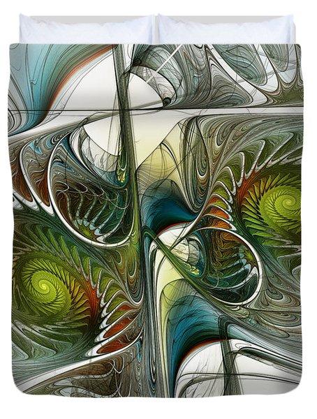 Reflected Spirals Fractal Art Duvet Cover