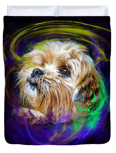 Duvet Cover featuring the digital art Reflecting On My Life by Kathy Tarochione