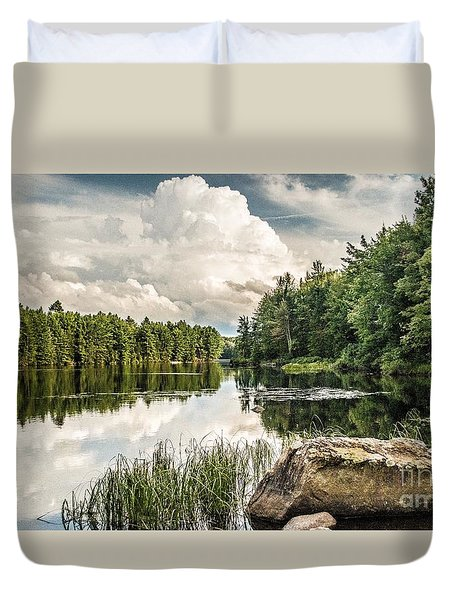 Duvet Cover featuring the photograph Reflection Lake In New York by Debbie Green