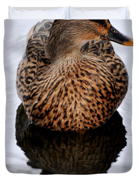 Duvet Cover featuring the photograph Reflection Of A Duck by Debby Pueschel