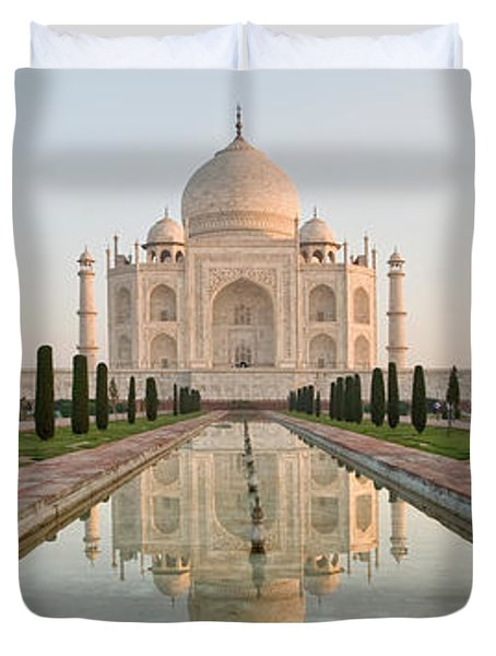 Reflection Of A Mausoleum In Water, Taj Duvet Cover