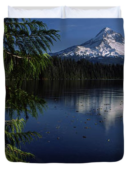 Reflection Of A Mountain In A Lake, Mt Duvet Cover