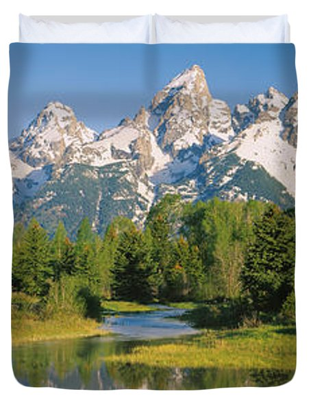 Reflection Of A Snowcapped Mountain Duvet Cover