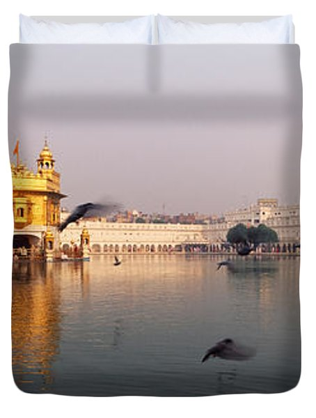 Reflection Of A Temple In A Lake Duvet Cover