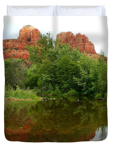 Reflection Of Cathedral Rock Duvet Cover by Carol Groenen