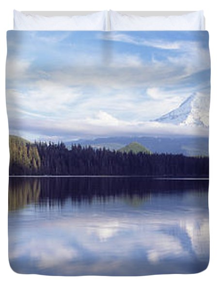 Reflection Of Clouds In A Lake, Mt Hood Duvet Cover