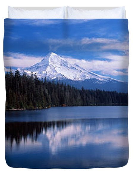 Reflection Of Clouds In Water, Mt Hood Duvet Cover