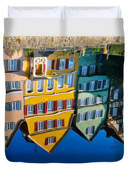 Reflection Of Colorful Houses In Neckar River Tuebingen Germany Duvet Cover by Matthias Hauser