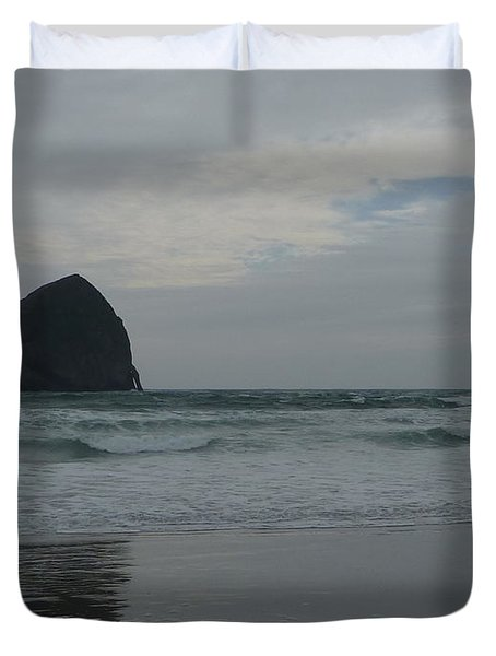 Duvet Cover featuring the photograph Reflection Of Haystock Rock  by Susan Garren