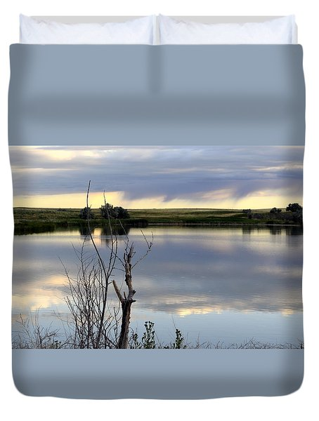 Reflection Of Morning Sky Duvet Cover by Clarice  Lakota