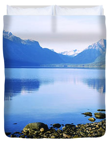Reflection Of Rocks In A Lake, Mcdonald Duvet Cover by Panoramic Images