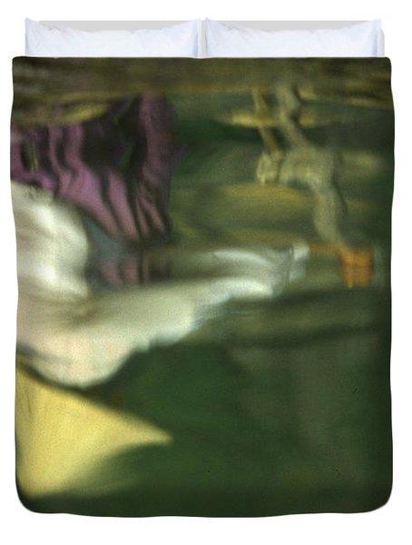 Reflection Of Women In Mekong Duvet Cover
