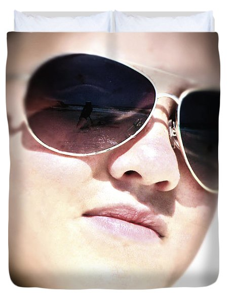 Duvet Cover featuring the photograph Reflection by Pennie  McCracken