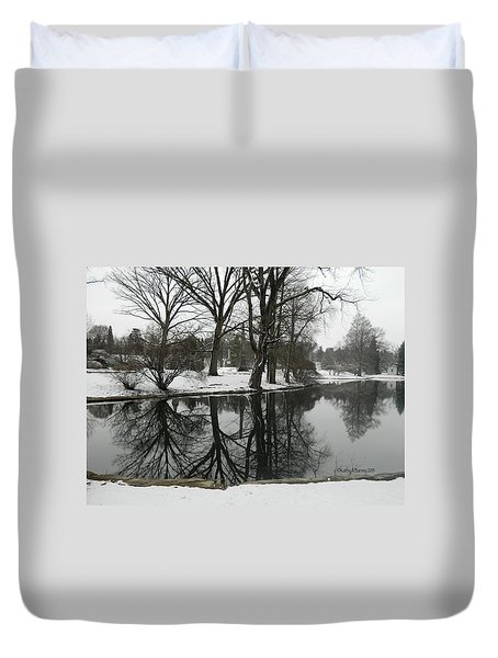 Duvet Cover featuring the photograph Reflection Pond Spring Grove Cemetery by Kathy Barney