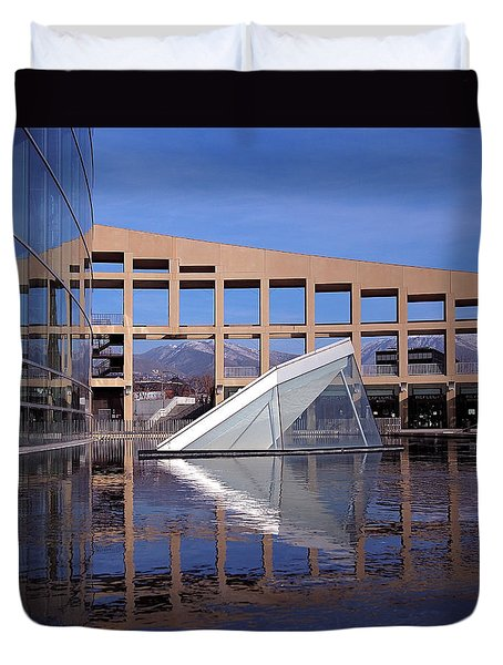 Reflections At The Library Duvet Cover by Rona Black