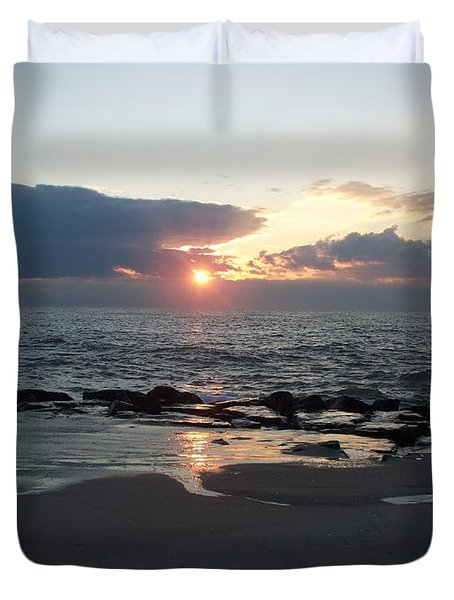 Reflections Cape May Point Duvet Cover by Eric  Schiabor