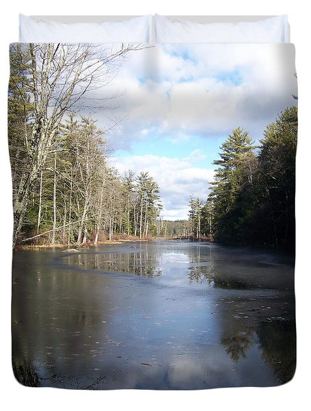 Duvet Cover featuring the photograph Reflections Caught On Ice At A Pretty Lake In New Hampshire by Eunice Miller