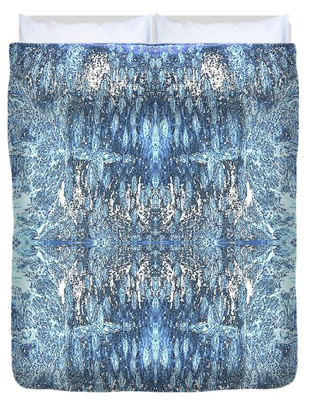 Duvet Cover featuring the digital art Reflections In Blue by Stephanie Grant