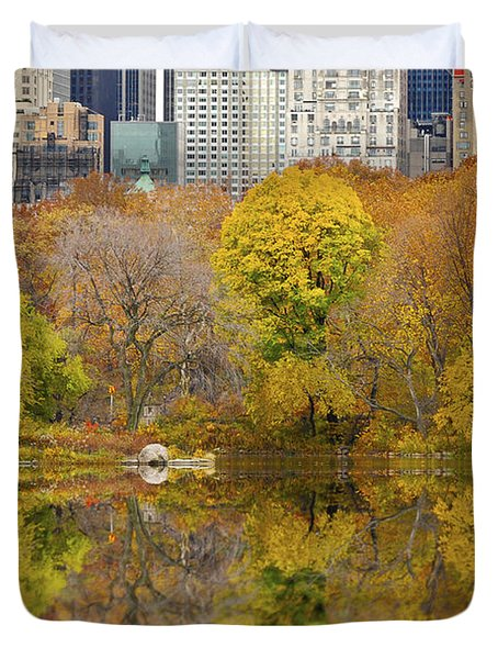 Reflections In Central Park New York City Duvet Cover by Sabine Jacobs