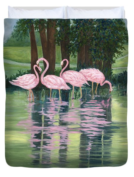 Duvet Cover featuring the painting Reflections In Pink by Karen Zuk Rosenblatt