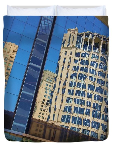 Duvet Cover featuring the photograph Reflections In The Rolex Bldg. by Robert ONeil