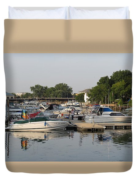 Reflections In The Small Boat Harbor Duvet Cover by Kay Novy