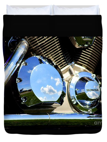 Reflections In The V Twin Duvet Cover by Patti Whitten