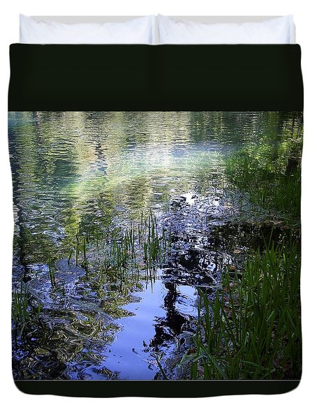 Duvet Cover featuring the photograph Reflections  by Mary Wolf