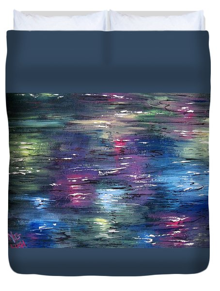 Duvet Cover featuring the painting Reflections by Megan Walsh