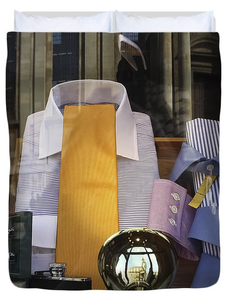 Duvet Cover featuring the photograph Reflections Of A Gentleman's Tailor by Terri Waters