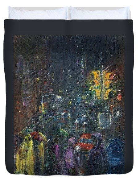 Reflections Of A Rainy Night Duvet Cover