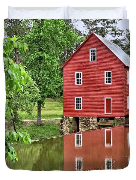 Reflections Of A Retired Grist Mill - Square Duvet Cover