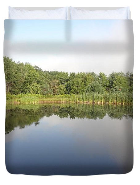 Duvet Cover featuring the photograph Reflections Of A Still Pond by Michael Porchik